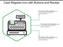 Cash Register Icon With Buttons And Receipt