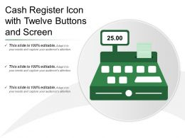Cash Register Icon With Twelve Buttons And Screen
