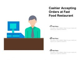 Cashier Accepting Orders At Fast Food Restaurant