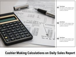 Cashier Making Calculations On Daily Sales Report