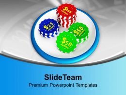 Casino Chips On White Background Powerpoint Templates Ppt Themes And Graphics 0313