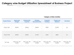 Category Wise Budget Utilization Spreadsheet Of Business Project