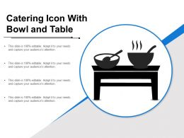 Catering Icon With Bowl And Table