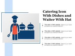 Catering Icon With Dishes And Waiter With Hat
