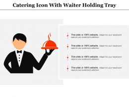 Catering Icon With Waiter Holding Tray