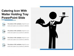Catering Icon With Waiter Holding Tray Powerpoint Slide