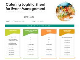 Catering Logistic Sheet For Event Management