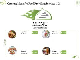 Catering Menu For Food Providing Services Ppt Powerpoint Presentation Designs