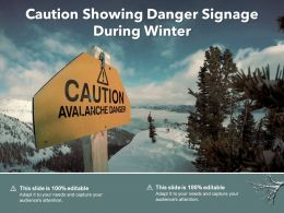 Caution Showing Danger Signage During Winter