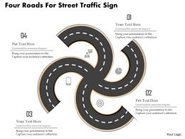 Cb Four Roads For Street Traffic Sign Powerpoint Template