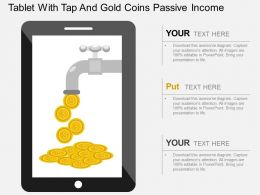 cb Tablet With Tap And Gold Coins Passive Income Flat Powerpoint Design