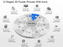 Cc 12 Staged 3d Puzzle Process With Icons Powerpoint Template
