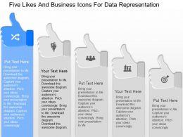 cc Five Likes And Business Icons For Data Representation Powerpoint Template