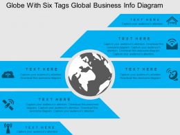 cc Globe With Six Tags Global Business Info Diagram Flat Powerpoint Design