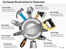 Cc Saw Hammer Wrench And Axe For Construction Powerpoint Template