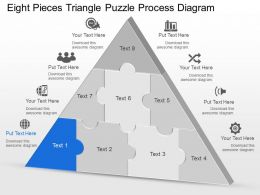 Cd Eight Pieces Triangle Puzzle Process Diagram Powerpoint Template