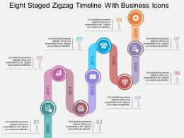 Cd Eight Staged Zigzag Timeline With Business Icons Flat Powerpoint Design