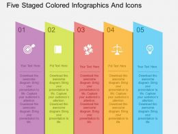 Cd Five Staged Colored Infographics And Icons Flat Powerpoint Design