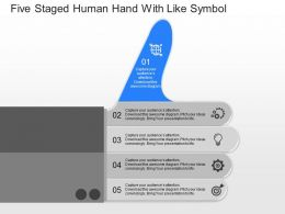 cd Five Staged Human Hand With Like Symbol Powerpoint Template
