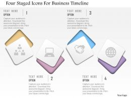 Cd Four Staged Icons For Business Timeline Powerpoint Template