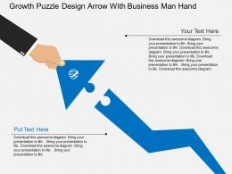 cd Growth Puzzle Design Arrow With Business Man Hand Flat Powerpoint Design