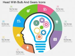 cd Head With Bulb And Gears Icons Flat Powerpoint Design