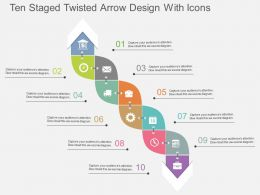 cd Ten Staged Twisted Arrow Design With Icons Flat Powerpoint Design