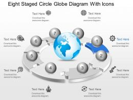 Ce Eight Staged Circle Globe Diagram With Icons Powerpoint Template