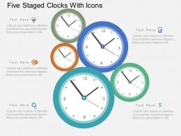 Ce Five Staged Clocks With Icons Flat Powerpoint Design