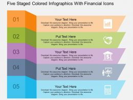Ce Five Staged Colored Infographics With Financial Icons Flat Powerpoint Design