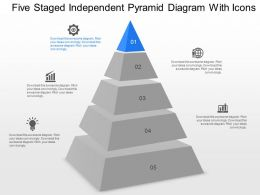 ce Five Staged Independent Pyramid Diagram With Icons Powerpoint Template