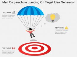 ce Man On Parachute Jumping On Target Idea Generation Flat Powerpoint Design