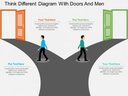 ce_think_different_diagram_with_doors_and_men_flat_powerpoint_design_Slide01