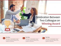 Celebration Between Two Colleague On Winning Award