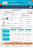 Celebrity Brand Marketing Endorsement Plan One Page Summary Presentation Report Infographic PPT PDF Document