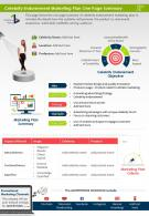 Celebrity Endorsement Marketing Plan One Page Summary Presentation Report Infographic PPT PDF Document