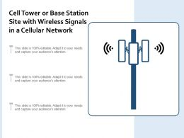 Cell Tower Or Base Station Site With Wireless Signals In A Cellular Network