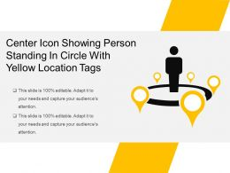 Center Icon Showing Person Standing In Circle With Yellow Location Tags