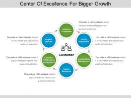 Center Of Excellence For Bigger Growth Ppt Diagrams