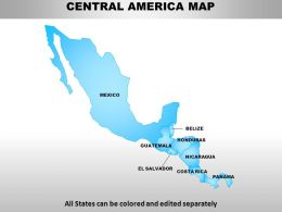 Central America Continents PowerPoint maps