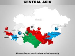 Central Asia Continents Powerpoint Map 1114