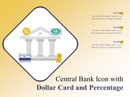 Central Bank Icon With Dollar Card And Percentage