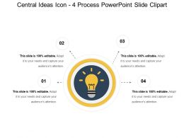 Central Ideas Icon 4 Process Powerpoint Slide Clipart