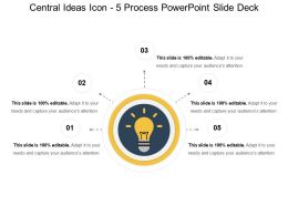 Central Ideas Icon 5 Process PowerPoint Slide Deck
