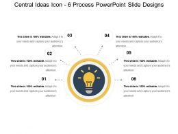 Central Ideas Icon 6 Process Powerpoint Slide Designs
