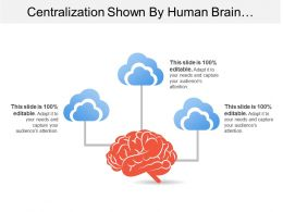Centralization Shown By Human Brain With Connected Clouds