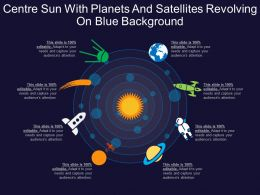 Centre Sun With Planets And Satellites Revolving On Blue Background