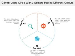 Centre Using Circle With 3 Sectors Having Different Colours