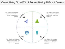 Centre Using Circle With 4 Sectors Having Different Colours