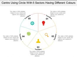 Centre Using Circle With 5 Sectors Having Different Colours